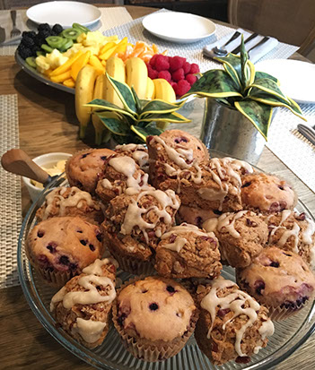 Maple Pecan Scones, Blueberry Muffins and Seasonal Fruit Platter